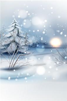 传统冬季节气雪景背景设计
