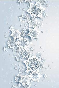 冬天唯美雪花展板背景