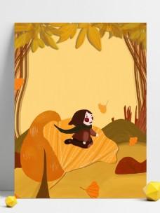秋季落叶女孩背景设计