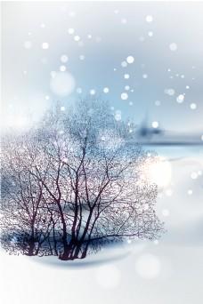 唯美冬至节气雪景背景