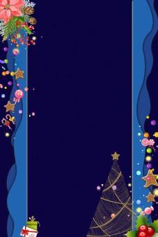 圣诞蓝色折纸背景淘宝背景H5背景