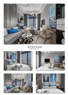 现代风格单身公寓效果图