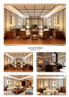 新中式舒适客厅茶台效果图
