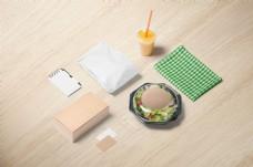 清新汉堡快餐外卖包装样机模板