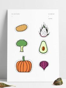 矢量简约可爱卡通蔬果贴纸元素手账素材