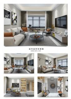 现代风格简约客厅效果图