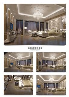 现代欧式风格酒店套间总统套房效果图
