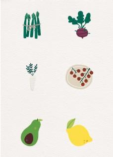 卡通矢量蔬菜和水果设计