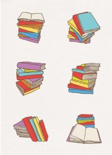 彩色矢量书本书籍卡通设计