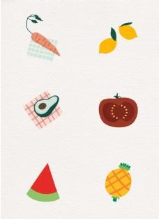 卡通蔬果元素矢量设计