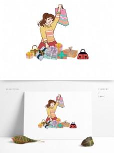 购物女孩贴纸卡通设计