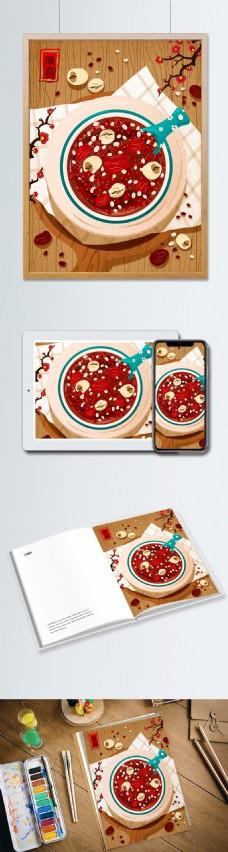 传统节日腊八节美味腊八粥插画