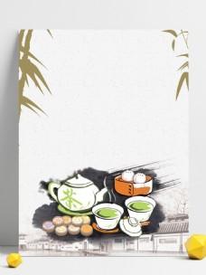 彩绘港式早茶背景设计