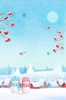 唯美冬季雪地雪人背景素材