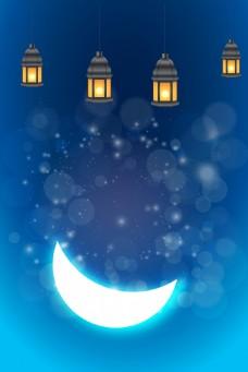蓝色炫彩节日灯笼矢量背景