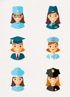扁平化6组职业女性头像设计