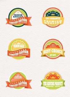 6组矢量彩色拼接徽章设计