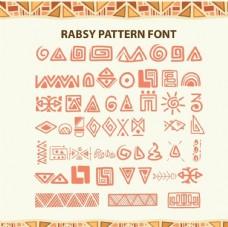 抽象埃及象形文字线条图形
