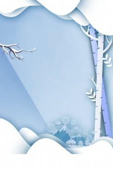 白色剪纸风圣诞节背景素材