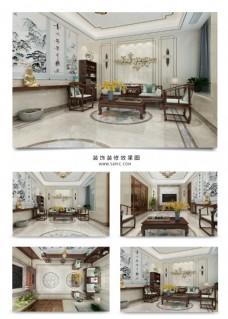 中式会客厅装饰装修效果图