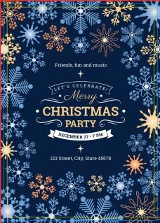 蓝色雪花圣诞节派对促销画报