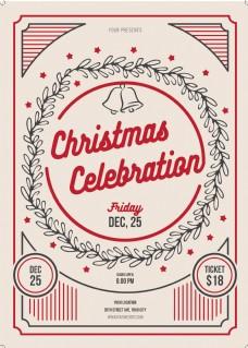 创意手绘圣诞节促销海报