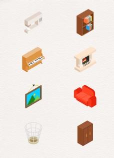 卡通手绘家居用品元素ai设计