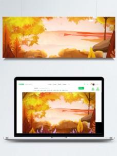 手绘海边秋天树叶背景素材