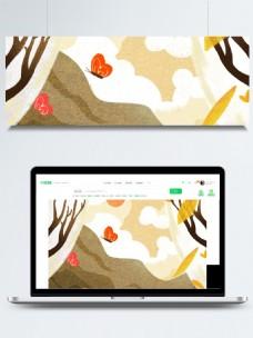 手绘树枝停在石头上的蝴蝶背景素材