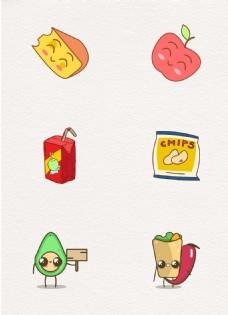 彩色卡通可爱零食元素设计图片
