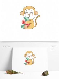 手绘流鼻涕的猴子可商用