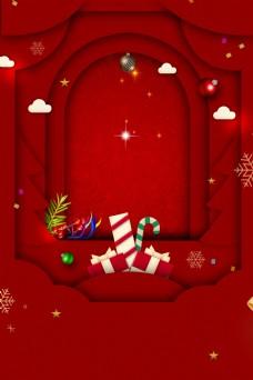 红色喜庆剪纸风圣诞元旦背景素材