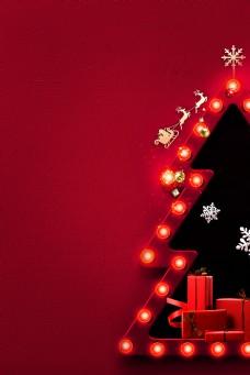 喜庆红色灯光圣诞元旦背景素材