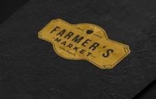 金色图标logo样机
