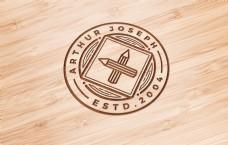 木纹logo样机模板