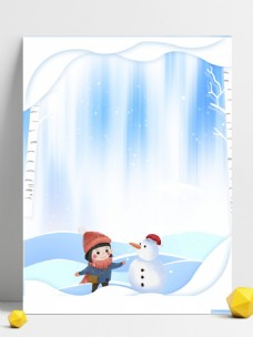 纸片风卡通女孩堆雪人白色背景素材