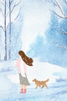 彩绘冬天节气女孩背景素材