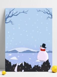 原创冬雪雪人背景