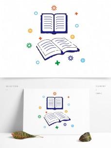 蓝色MBE扁平学习文具书本装饰矢量元素