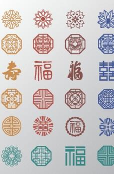 中国风传统复古花纹矢量素材