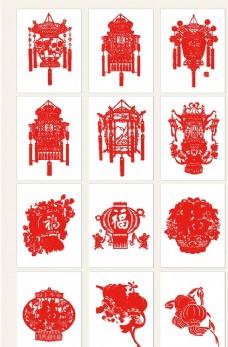 中国传统剪纸灯笼素材