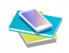 矢量彩色书本手机元素