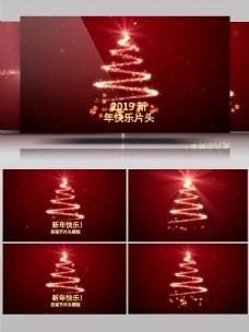 唯美红色圣诞节祝福片头模板