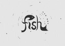 fish英文字体设计鱼艺术字字体设计