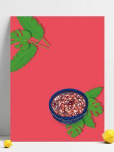 绿叶腊八粥背景设计