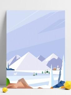 简约立冬节气雪山背景