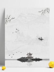 中国风竹林凉亭国画背景素材