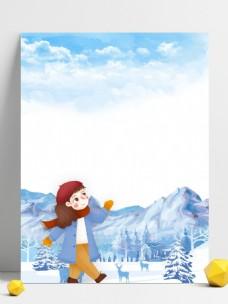 彩绘雪地女孩背景