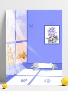 清新紫色家居壁画猫咪背景素材