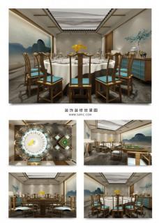 新中式意境餐厅包间装饰装修效果图